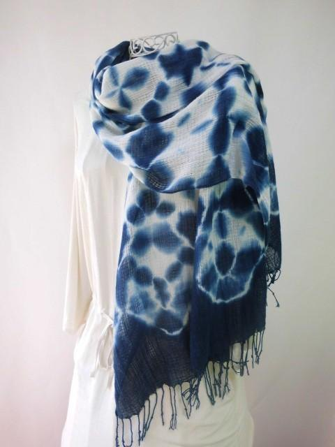 Indigo-dyed, cotton, draw-dyed, large format long stall
