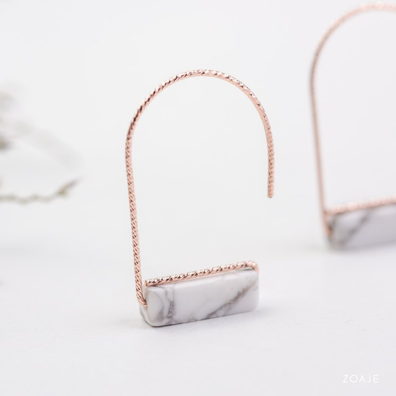 NORWAY Earrings, White Turqoise and 14k rose gold-filled, Gemstone earrings