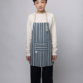 Reduced handprint cotton and linen apron children's version dark blue