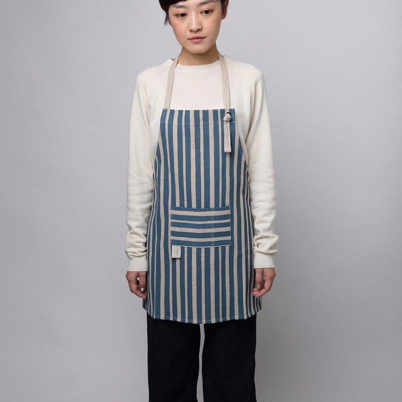 減簡手印棉麻圍裙 小朋友版 深藍色