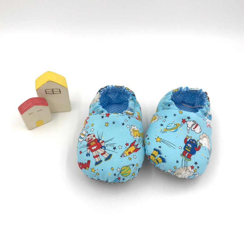 Space robot (blue bottom) - toddler shoes / baby shoes / baby shoes