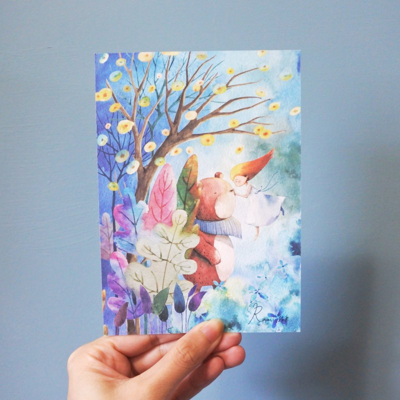 Rami watercolor hand drawn wind postcard - flying girl and cub in fantasy forest