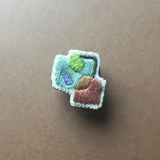 Mini Hand Embroidered Brooch / Pin Autumn Geometry Series 02