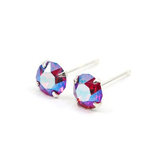 Ruby Red Shimmery Swarovski Crystal Earrings, Sterling Silver, 5mm Round