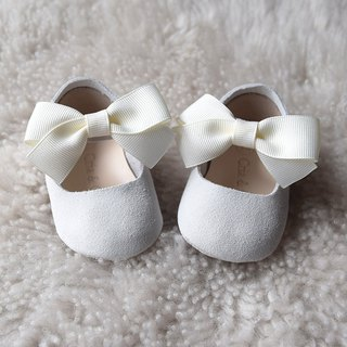 White Leather Baby Shoes with Bow, Baby Girl Shoes, Baptism Shoes