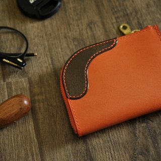 L zipper purse orange + coke tea [European vegetable tanning / limited / hand sewn] [17011]