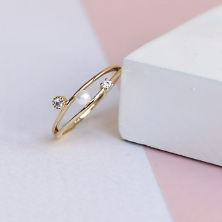 Japanese handmade accessories - pearl double ring