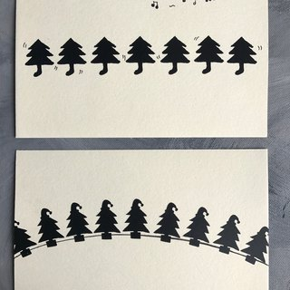 Hand made Christmas postcard ㊣ Christmas tree socks jump just, Christmas tree cap jungle (group)