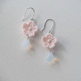 Pale Pink Flower Tear Drop Glass Earrings, clip on, S925 silver, 14kgf custom