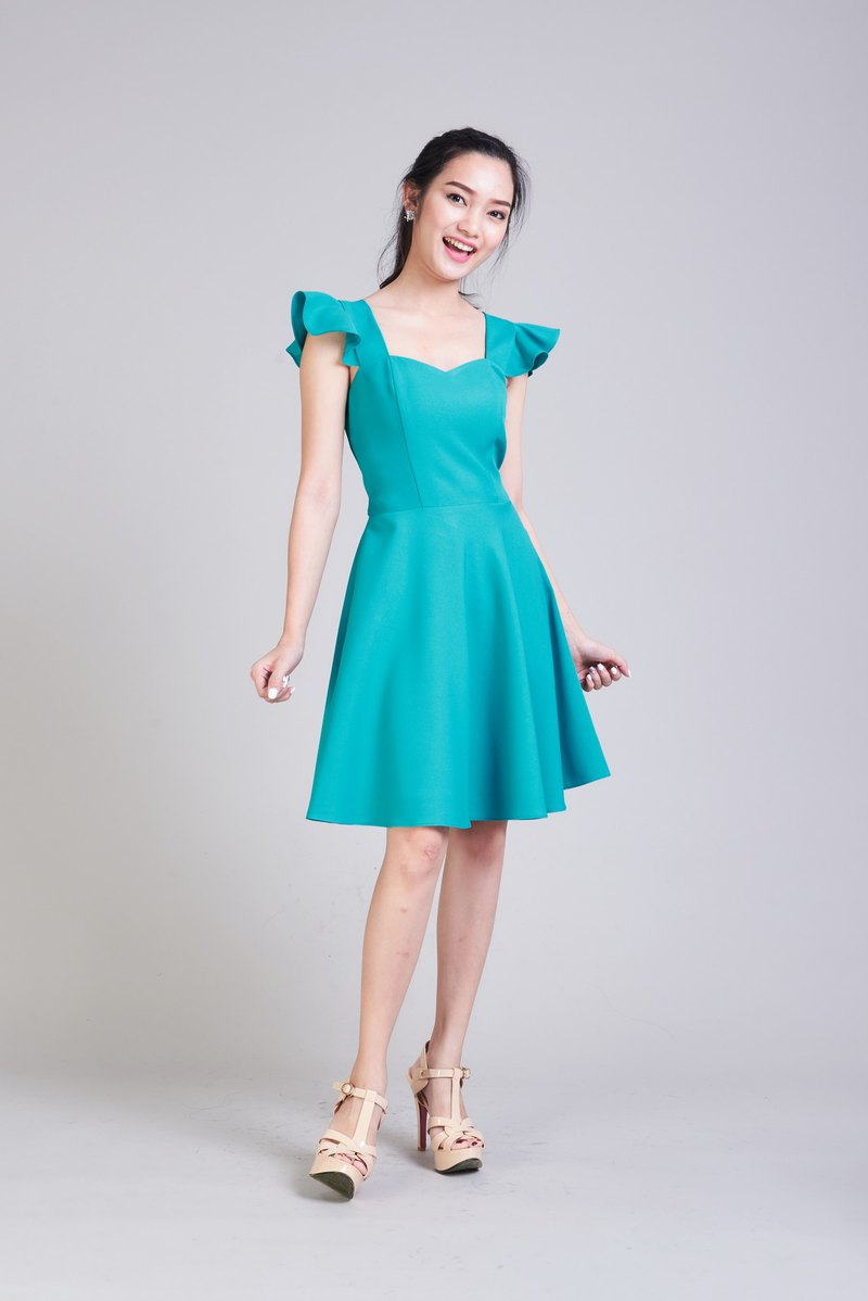 Jade Green Dress Ruffle dress Sundress Party Dress Bridesmaid Dress Tea Dress