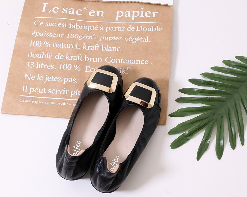Thick-leg calf leather doll shoes