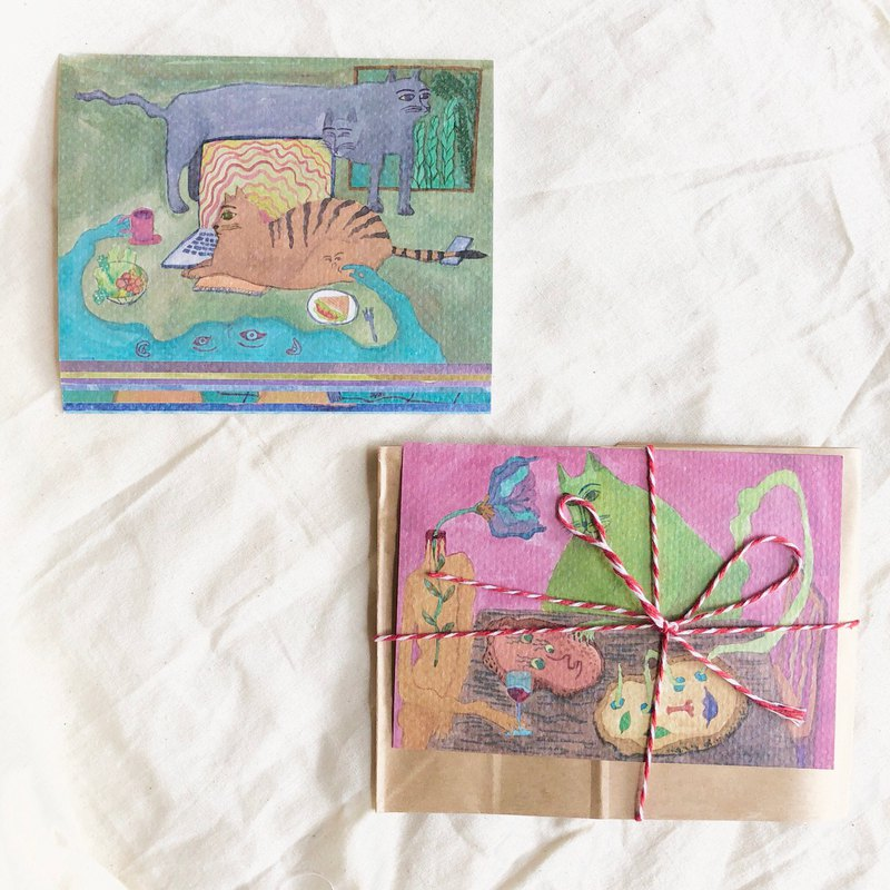 Postcard set of 9 - vegetative and cat daily / universe bean flower illustration series