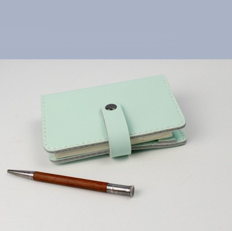 zemoneni A7 size leather traveling agenda in Mint green color