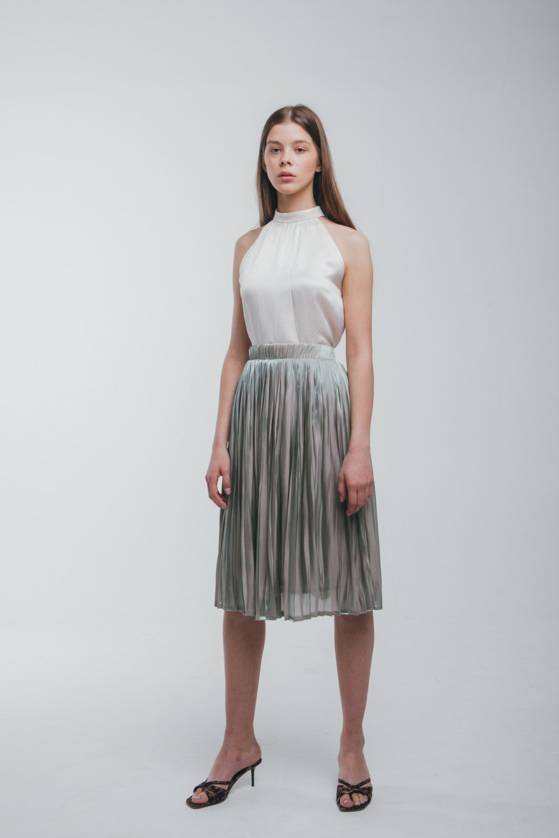 Pleated Knee-Length Skirt In Grey