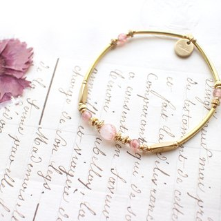 Strawberry  quartz brass bracelet