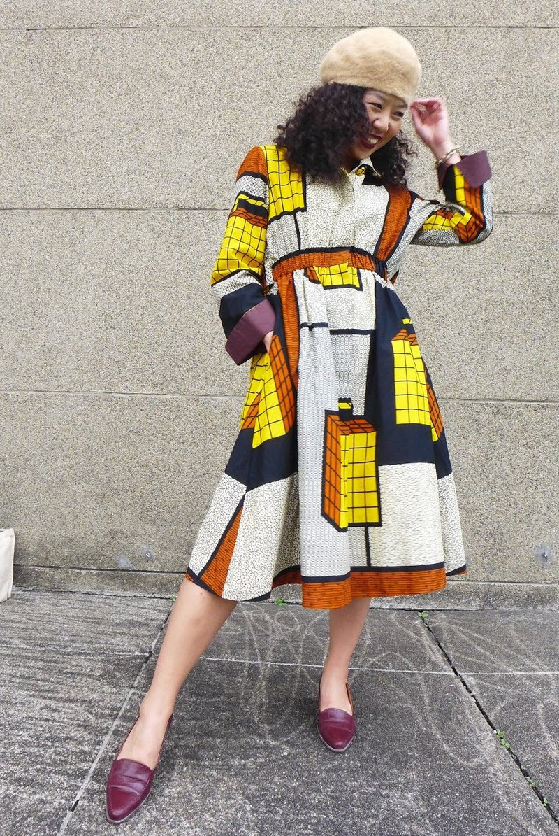 Dress Kay Peru_Trench Coat/Dress With Vintage Suitcase Print