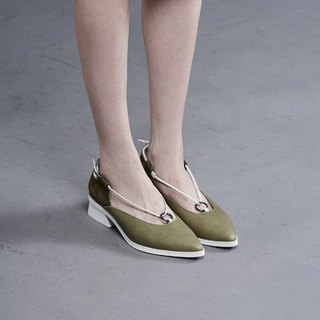 Thin rope small ring stitching thick heel shoes green