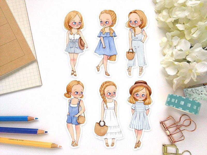 水彩夏日女孩-金髮 插畫貼紙 - 防水貼紙包 手帳貼紙 可愛貼紙