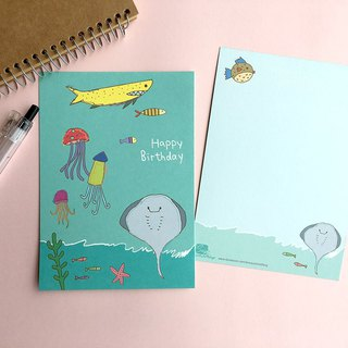 Happy Birthday- Personal Original Hand Drawn Underwater World Postcard / postcard