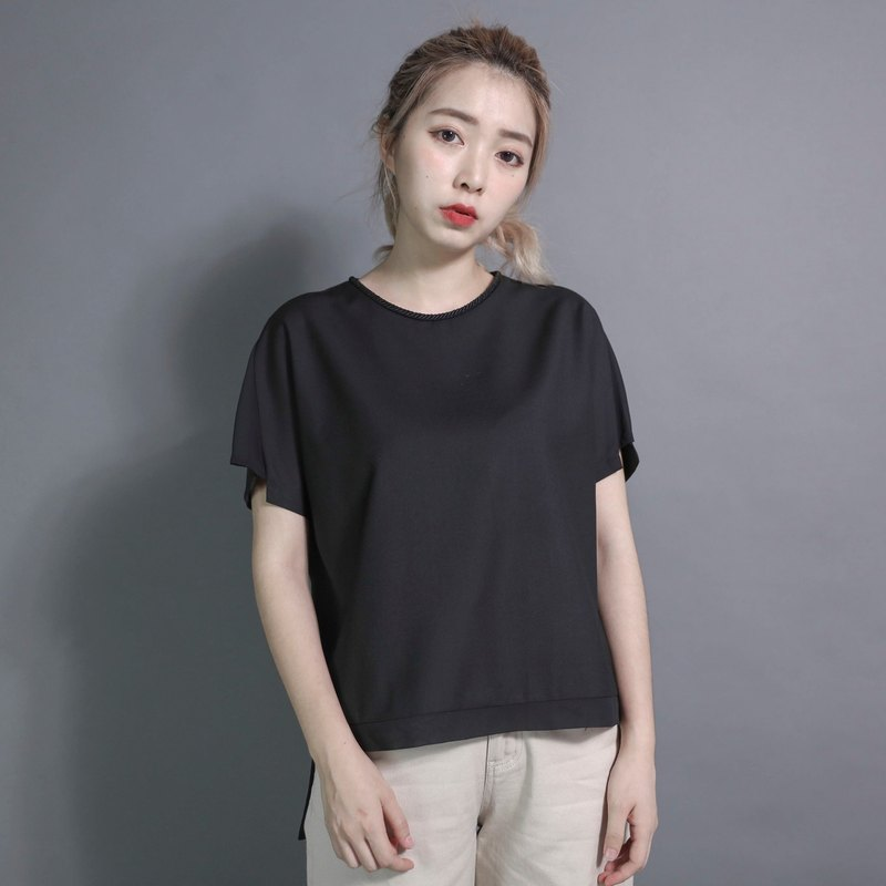 SU: MI said Comet budding splicing shirt _7SF105_ black