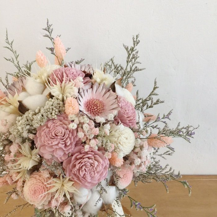 Dry Bouquets Pink White Cotton Dry Flowers Bridal Bouquet