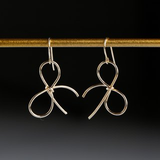 Simple ribbon pierced earrings-14kgf