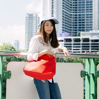 Three-use Bag - red carry bag / oblique backpack / bag / passport bag / minimalist wild wind / messenger bag / Shoulder Messenger Bag / short to horizontal dual-use bags