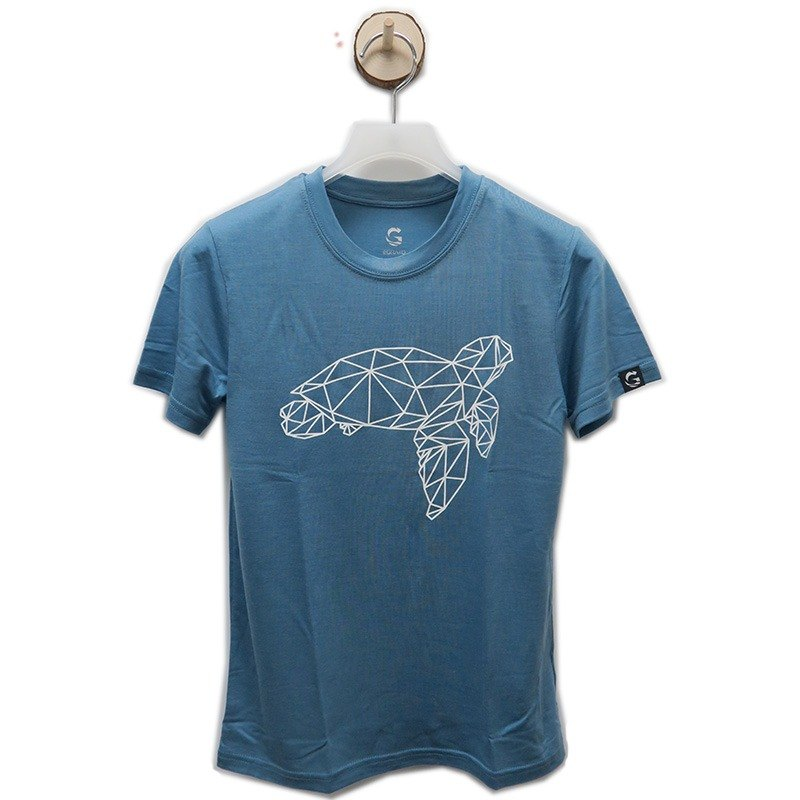 É Grato Tencel Coffee Yarn Fiber Moisturizing Wrapping Short Sleeve T-Shirt (Sea World - Turtle) Nigerian Blue