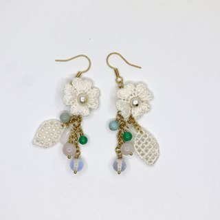 Lace Lace pearl small fresh earrings ear clip