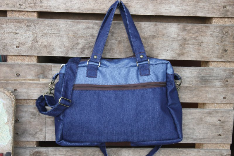 Waterproof blue denim portable oblique shoulder multifunction bag