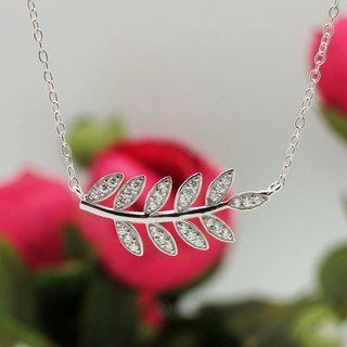 Oak Leaf Clavicle Necklace 925 Silver Platinum-Clad