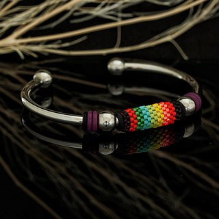 Aiko Bead with 4mm Stainless Steel Bangle Peyote-22