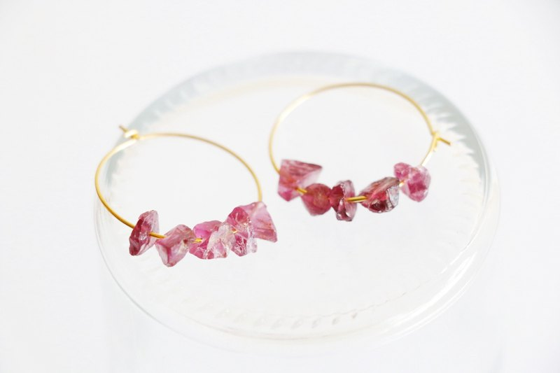 Garnet hoop earrings - 18k gold plated earrings
