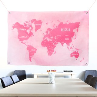 Custom World Map Fabric Pink