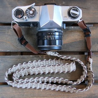 Hemp string hemp camera strap BRW / double ring