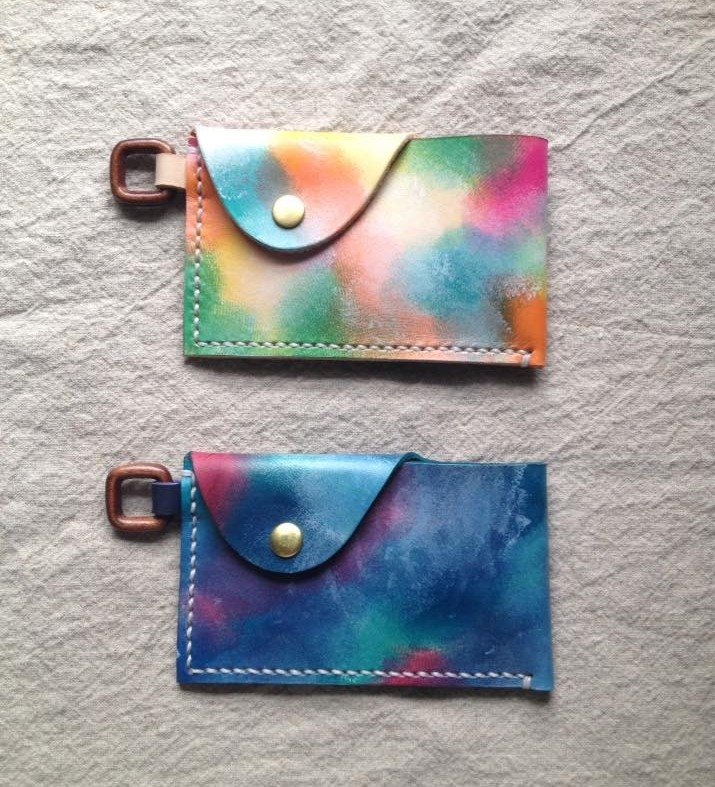 Simple simple beauty card / business card holder _ hand dyed hand-stitched leather