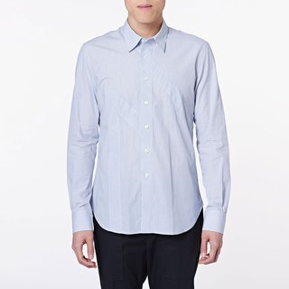 C100 M Shirt gray and blue stitching shirt
