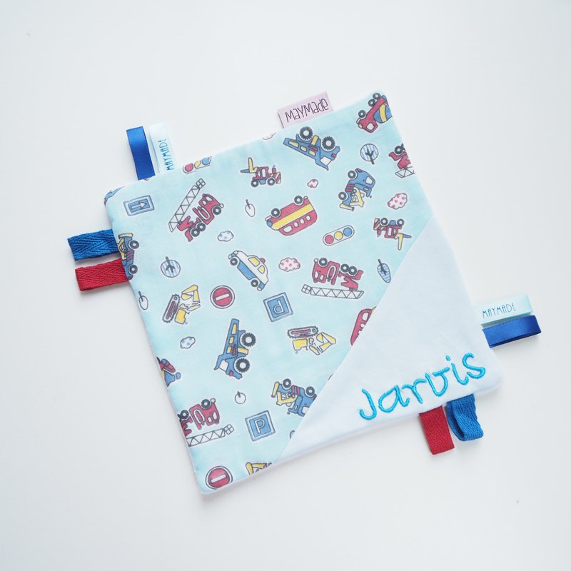 Blue Cars Embroidery Security Blanket