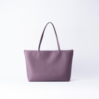 Plain leather shoulder tote bag lavender purple
