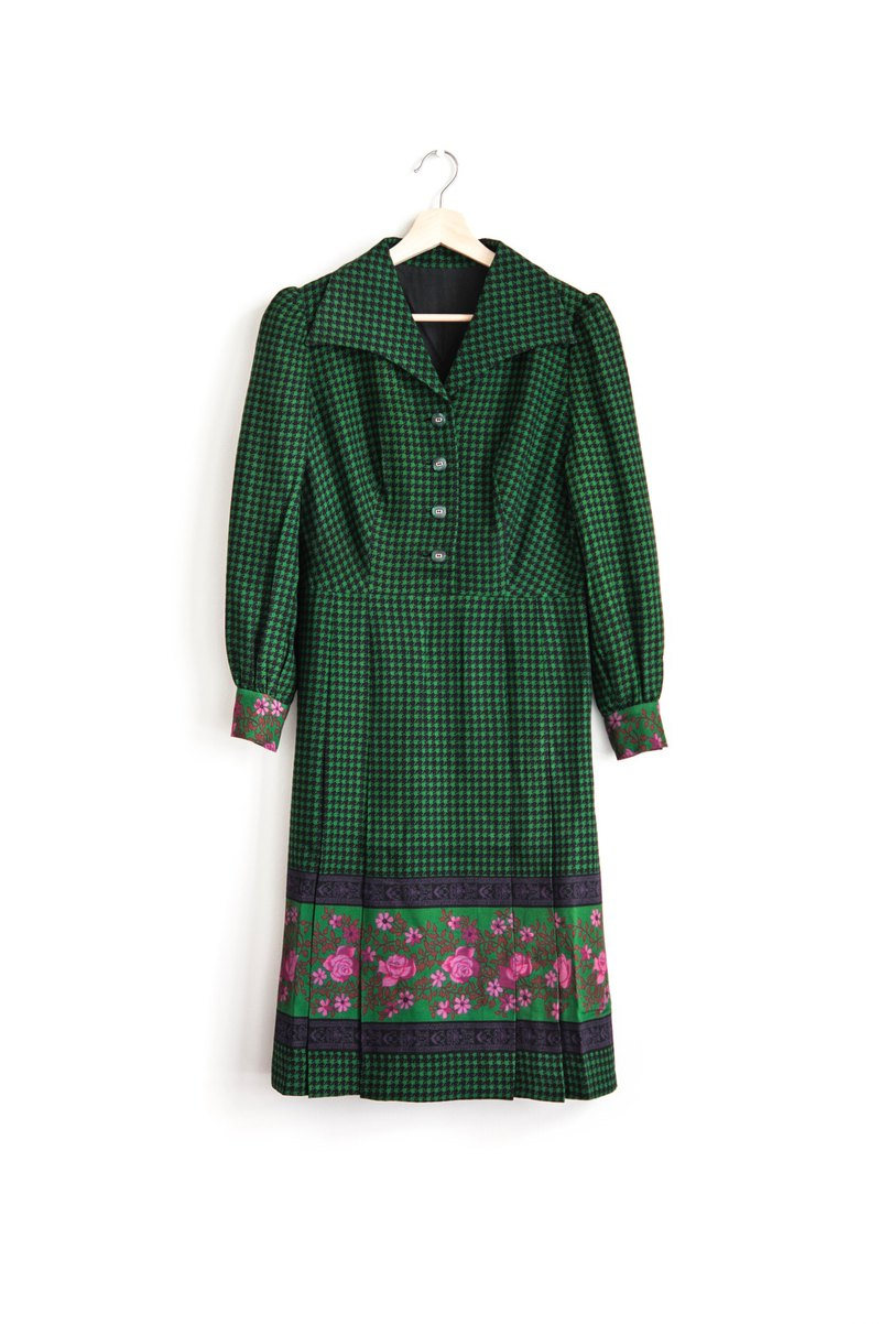 Vintage houndstooth flower thick material vintage long-sleeved dress