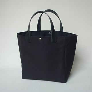 Simple tote bag, black hand-stitched leather