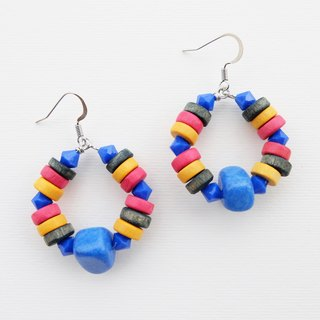 Colorful wood earrings with blue stones