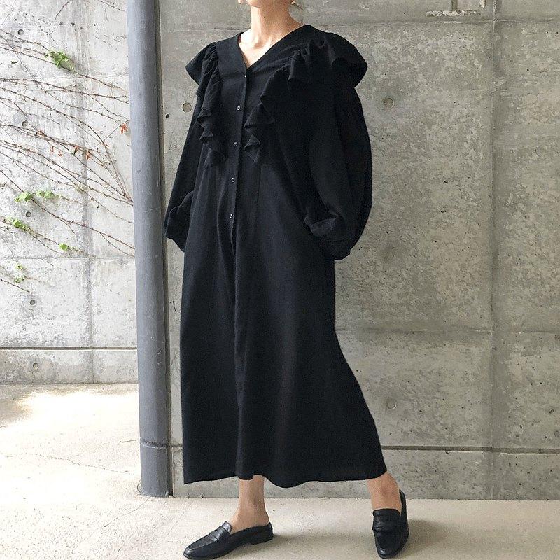 泡泡袖荷葉邊連衣裙dress_black
