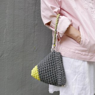 Duo Color Triangle Handbag, crochet, knit, handmade (Dark Grey / Yellow)