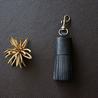 Genuine Leather Bag Tassel / Bag Charm / Key Holder * Black
