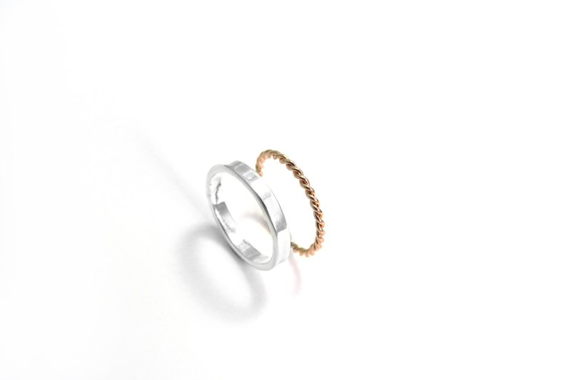 3mm Texture Ring - Silver + Fine Ring - Two Piece Silver Ring (Rose Gold)