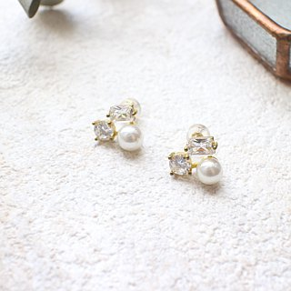 White moon light-Zircon brass handmade earrings
