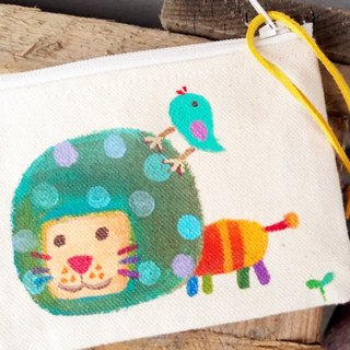 【Pure hand-painted】 ticket card holder | purse | canvas | lion | lovely wind