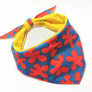 Exclusive dog name collar - custom (large dogs) - red and blue flowers