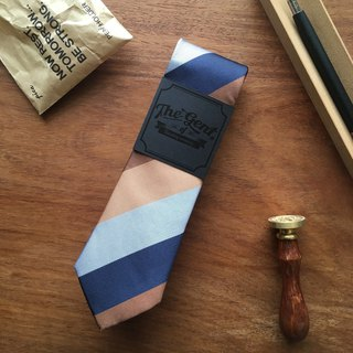 The GENT Brown and Blue Shade Stripe Neck tie